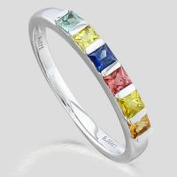 PRECIOUS ! 3/4 (6 PCS) MULTI COLOR SAPPHIRE (VS) 9KT SOLID GOLD BAND RING