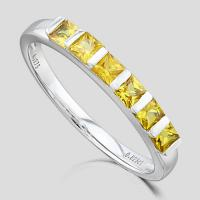 BEAUTIFUL ! 4/5 CARAT (6 PCS) YELLOW SAPPHIRE 9KT SOLID GOLD BAND RING