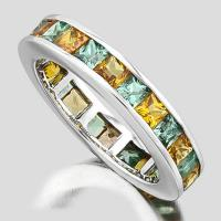 SUPERB ! 4.22 CARAT (24 PCS) SAPPHIRE (VS) 9KT SOLID GOLD BAND RING