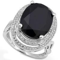 DAZZLING ! 8.12 CARAT BLACK SAPPHIRE &1/2 CARAT (82 PCS) CREATED WHITE SAPPHIRE 925 STERLING SILVER RING