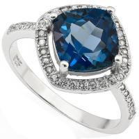 PRECIOUS ! 2.11 CARAT LONDON BLUE TOPAZ & 1.38 CARAT (28 PCS) CREATED WHITE SAPPHIRE 925 STERLING SILVER RING