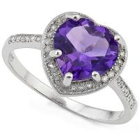 SPARKLING ! 2.12 CARAT AMETHYST & 1/5 CARAT (25 PCS) CREATED WHITE SAPPHIRE 925 STERLING SILVER RING