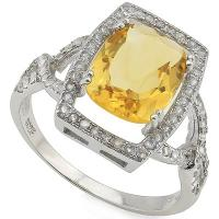 DAZZLING ! 3.65 CARAT CITRINE & 1/3 CARAT (60 PCS) CREATED WHITE SAPPHIRE 925 STERLING SILVER RING