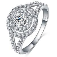 DAZZLING ! FLAWLESS CREATED DIAMOND 925 STERLING SILVER ENGAGEMENT RING