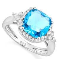 CHARMING ! 3.52 CARAT CREATED SWISS TOPAZ & FLWALESS CREATED DIAMOND 925 STERLING SILVER RING