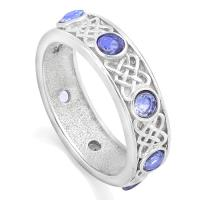 ADORABLE ! 1.00 CARAT TANZANITE 925 STERLING SILVER BAND RING