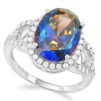 IMMACULATE ! 6.41 CARAT CREATED OCEAN MYSTIC GEMSTONE & CREATED WHITE SAPPHIRE 925 STERLING SILVER RING