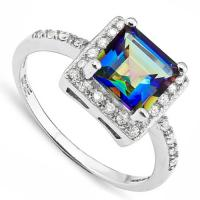 ADORABLE ! 1.50 CARAT OCEAN MYSTIC GEMSTONE & CREATED WHITE SAPPHIRE 925 STERLING SILVER RING
