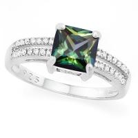 MAGNIFICENT !  2.05 CARAT CREATED GREEN MYSTIC  & CREATED WHITE SAPPHIRE 925 STERLING SILVER RING