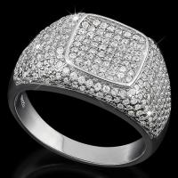 SPLENDID !  2 CARAT (156 PCS) FLAWLESS CREATED DIAMOND  925 STERLING SILVER RING