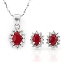 SPECTACULAR ! 2 CARAT ENHANCED GENUINE RUBY & DIAMOND 925 STERLING SILVER EARRINGS & PENDANT WITH CHAIN