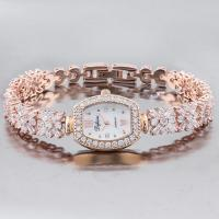 ELEGANT ! LUXURY SPARKLING SYNTHETIC DIAMOND-ENCRUSTED 18K GOLD PLATED LADIES JEWELRY BRACELET WATCH