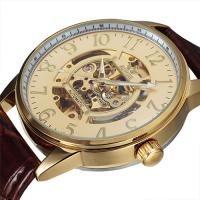 IRRESISTIBLE ! SKELETON MECHANICAL AUTOMATIC LEATHER STRAP MENS WRIST WATCH