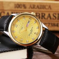 SUPERB ! CLASSIC DESIGN SPARKLING CRYSTAL WATER RESISTANT LEATHER STRAP QUARTZ WATCH