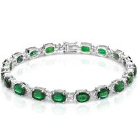 13.54 CT EMERALD & 3/4 CT DIAMOND (VS CLARITY) 10KT SOLID GOLD BRACELET