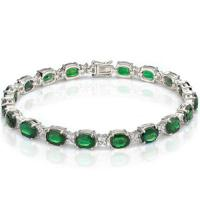 14.10 CT EMERALD & 4/5 CT DIAMOND (VS CLARITY) 10KT SOLID GOLD BRACELET