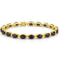 17.80 CT GENUINE BLACK SAPPHIRE & 68PCS GENUINE DIAMOND 10KT SOLID GOLD BRACELET