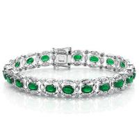 10.37 CT GENUINE EMERALD & 84PCS GENUINE DIAMOND 10KT SOLID GOLD BRACELET