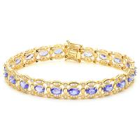 LOVELY!   8 4/5 CARAT (21 PCS) TANZANITE & 1 3/5 CARAT (84 PCS) DIAMOND 10KT SOLID GOLD BRACELET