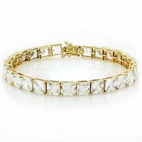 48.23 CARAT FLAWLESS CREATED DIAMOND 10KT SOLID GOLD TENNIS BRACELET