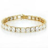(IN STOCK NOW!!) 44.58 CT FLAWLESS CREATED DIAMOND 14KT SOLID GOLD TENNIS BRACELET