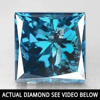 1.00 CT GENUINE BLUE DIAMOND SQUARE CUT LOOSE