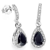 BEAUTIFUL 1.70 CT DIFFUSION GENUINE SAPPHIRE & 48PCS GENUINE DIAMOND 10KT SOLID GOLD EARRINGS