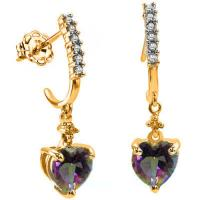 1.42 CT MYSTIC GEMSTONE & DIAMOND 10KT SOLID GOLD DANGLE EARRINGS