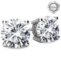 (CERTIFICATE REPORT) 4.00 CT DIAMOND MOISSANITE (E COLOR/VVS) PT900 EARRINGS STUD