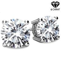 (CERTIFICATE REPORT) 6.00 CT DIAMOND MOISSANITE (E COLOR/VVS) PT900 EARRINGS STUD