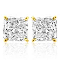 (CERTIFICATE REPORT) 2.53 CT DIAMOND MOISSANITE (VVS) 14KT SOLID GOLD EARRINGS STUD