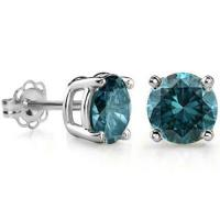 1/4 CARAT BLUE DIAMOND 14KT SOLID GOLD EARRINGS STUD