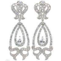 ADORABLE ! 27.06 CARAT (164 PCS) FLAWLESS CREATED DIAMOND 18K GOLD PLATED GERMAN SILVER EARRINGS