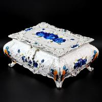IMPERIAL BRITISH MONARCHY DESIGN ! ROSE VELVET INTERIOR JEWELRY BOX WITH MIRROR