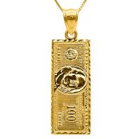 10KT SOLID GOLD US 100 DOLLAR PENDANT