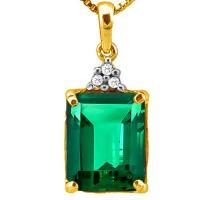 3.03 CT RUSSIAN EMERALD & DIAMOND (VS) 10KT SOLID GOLD PENDANT