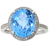 (CLOSEOUT #1004) FINE JEWELRY 6.00 CT BLUE TOPAZ & (SI-I1) DIAMOND 10KT SOLID GOLD RING (SIZE 7)