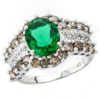 IRRESISTIBLE ! 2.40 CARAT RUSSIAN EMERALD & 1.57 CARAT (36 PCS) DIAMOND 14KT SOLID GOLD RING