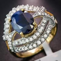 2.60 CT DIFFUSION GENUINE SAPPHIRE & 2/3 CT DIAMOND (VS CLARITY) 10KT SOLID GOLD RING