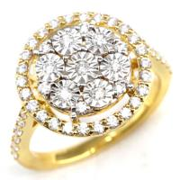 (CERTIFIED LOT 61149) NATURAL DIAMOND (VVS) 18K YELLOW GOLD RING (SIZE 7 US)
