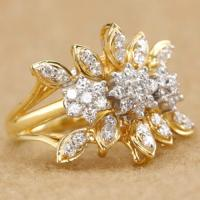 (CERTIFIED LOT 61150) NATURAL DIAMOND (VS) 18K YELLOW GOLD RING (SIZE 6 US)