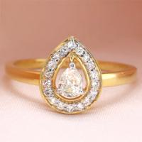 (CERTIFIED LOT 61166) NATURAL DIAMOND (VS1-SI) 14K YELLOW GOLD RING (SIZE 6 US)