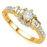 ADORABLE ! 2/5 CARAT (27 PCS) DIAMOND SOLITAIRE 14KT SOLID GOLD ENGAGEMENT RING