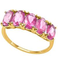 2.35 CARAT IMPERIAL PINK TOPAZ 14KT SOLID GOLD BAND RING