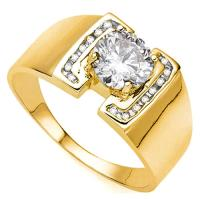BRILLIANT ! 1/2 CARAT DIAMOND SOLITAIRE 10KT SOLID GOLD MENS ENGAGEMENT RING