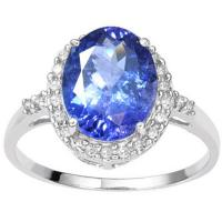 LOVELY !  2.55 CARAT TANZANITE & 1/5 CARAT (26 PCS) DIAMOND 14KT SOLID GOLD RING