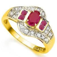 EXQUISTE !  3/4 CARAT RUBY & 1/5 CARAT (20 PCS) DIAMODN 10KT SOLID GOLD RING
