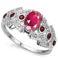 1/2 CT RUBY & (16 PCS) DIAMOND 10KT SOLID GOLD RING