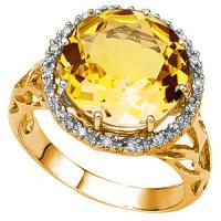 EXQUISTE !  5.62 CARAT DARK CITRINE & (18 PCS) DIAMOND 10KT SOLID GOLD RING