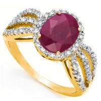SPLENDID ! 3 CARAT AFRICAN RUBY & 1/5 CARAT (30 PCS) DIAMOND 14KT SOLID GOLD RING